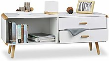 Sideboard with Rounded Edges and 2 Drawers, Long
