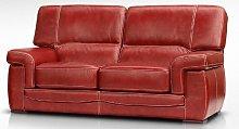 Siena 2 Seater Italian Leather Red Settee Sofa