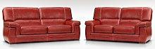 Siena 3 + 2 Italian Leather Red Settee Sofa Suite