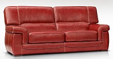 Siena 3 Seater Italian Leather Red Settee Sofa