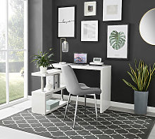 Siena White High Gloss Rotating Computer Desk
