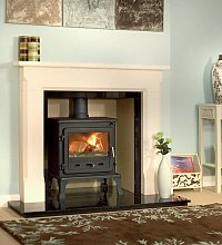 Sienna Agean  Limestone Fireplace With Reeded