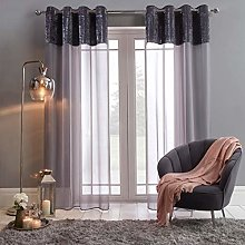 Sienna Crushed Velvet Voile Net Curtain-Two