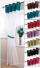 Sienna Eyelet Voile Curtain Panel - Teal / White -
