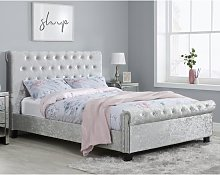 Sienna Fabric Double Bed In Steel Crushed Velvet