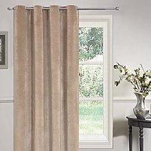 Sienna Matt Velvet Eyelet Curtain-Mink, Polyester