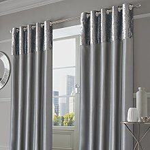 Sienna Pair of Crushed Velvet Band Curtains Fully