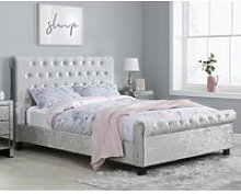 Sienna Steel Crushed Velvet Fabric Bed Frame Only