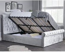 Sienna Steel Crushed Velvet Ottoman Storage Bed