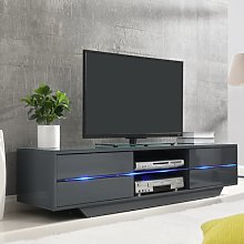 Sienna TV Stand In Grey High Gloss With Multi LED