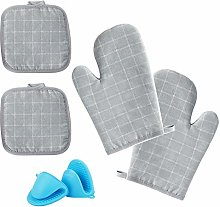 SIKAMARU 4PCS Heat Resistant Oven Mitts and Pot