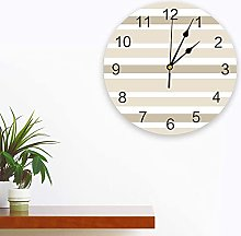 Silent Round Wall Clock Beige Brown and White