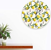 Silent Round Wall Clock Sweet Summer Lemons and