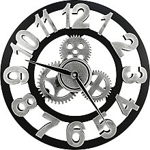 Silent Wall Clock - Large 3D Retro Rustic Country