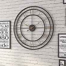 Silent Wall Clock, Vintage Antique Metal Skeleton