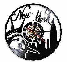 Silent Wall Clock with Modern Vinyl Record Skyline