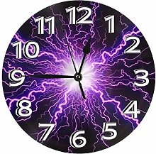 Silent Wall Clocks 10 Inch Battery Operated Purple
