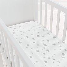 Silentnight Kids Grey Star Crib Cotton Fitted
