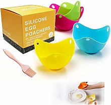 Silicon Egg Poacher Cups with Brush, Egg Moulds
