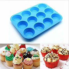 Silicone Baking Pan 12 Muffin Cup Cake Mold, Round