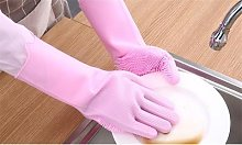 Silicone Cleaning Gloves: One Pair/Pink