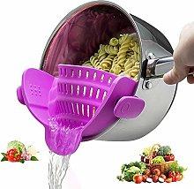 Silicone Kitchen Strain Strainer Clip On Colander,