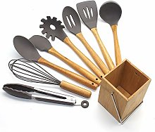 Silicone Kitchenware 9pcs Bamboo Handle Silicone