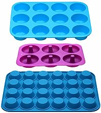 Silicone Muffin Tray Tins Non Stick 12 Cups and