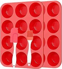 Silicone Muffin Trays Set and Spatula,