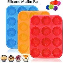 Silicone Pan, 3 Pack Regular 12 Cups Tin Cupcake