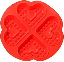 Silicone Waffle Molds, 4 Cavities Heart Shaped