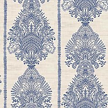 Silk Road Damask Wallpaper Indigo Blue Floral