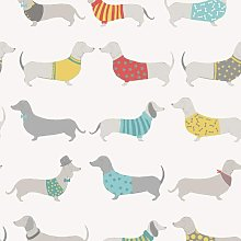 Silly Sausage Dogs Wallpaper White Red Teal Grey