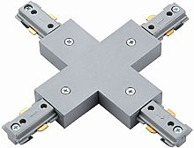 Silver 240V Single Circuit Track X Shape Connector