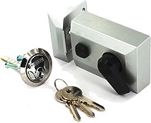 Silver 60mm Double Locking Night Latch & Cylinder