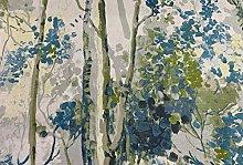 Silver Birch Trees Grey/Teal Cotton 140cm Curtain
