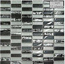 Silver & Black Glass Glitter Mosaic Tile Sheet for