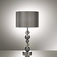 Silver Chrome Table Lamp with Black Shade and