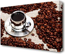 Silver Coffee Beans Kitchen Canvas Print Wall Art