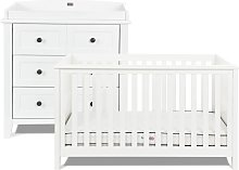 Silver Cross Nostalgia Cot Bed and Dresser - White