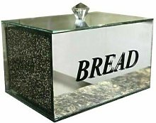 Silver Crushed Diamond Crystal Mirrored Bread Bin