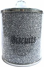 Silver Diamond Crushed Biscuit Canister Jar Tin