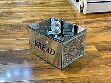 Silver Diamond Crushed Square Bread Canister Jar