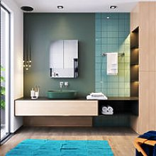 Silver Double Mirror Wall Mounted Cabinet 800 x
