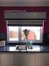 Silver Glitter Window Pelmet/Roller Blind with