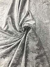 Silver Grey Crushed Velvet Fabric Premium Soft