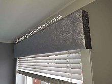 Silver Grey Crushed Velvet Padded Window Pelmet (5