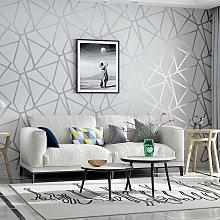 Silver Grey Geometric Striped Non-woven Wallpaper