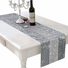 Silver & Grey Sparkle Crushed Velvet Bling Table