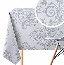 Silver Grey Wipe Clean Tablecloth With Baroque